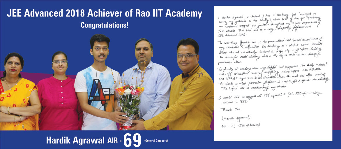 Jee Advanced Result 2018 of Rao IIT Academy