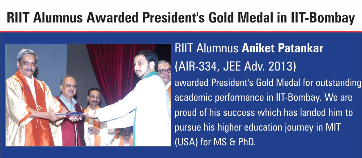 RIIT Alumnus Awarded President's Gold Medal in IIT-Bombay